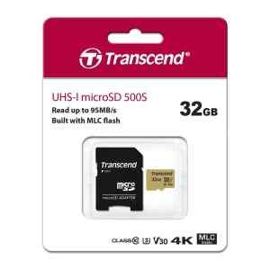 Memoria MicroSD 32GB UHS-I U3 con adaptador, TS32GUSD500S - Transcend-0