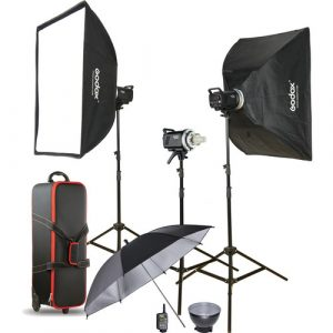 Kit de 3, Flash MS-200 con Softbox de 60X90, tripodes, trigger XT-16, estuche, reflector MS200-D - GODOX-0