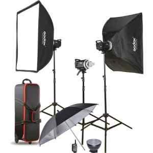 Kit de 3, Flash MS-300 con Softbox de 60X90, tripodes, trigger XT-16, estuche, reflector | MS300-D - GODOX-0