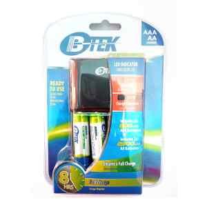 4 Baterías Recargables AA Con Cargador BBC-450 - BTEK-0